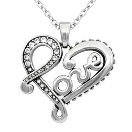 Engraved LOVE letter Heart Necklace