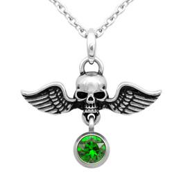 Birthstone Skull Necklace 'Winged Warrior Skull' With Swarovski Crystal