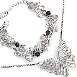 Butterflies Big and Small Necklace & Bracelet Set