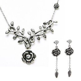 Wild Hibiscus Rose Necklace & Earrings Set