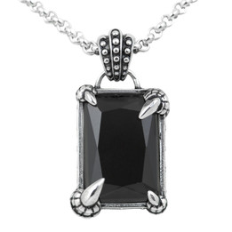"""Dragon Necklace """"Dragon Claw Seal Black"""" Dragon Pandant Adorned with Black Faceted Glass"""