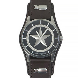 Nautical Star Watch - Brown Leather Wristband