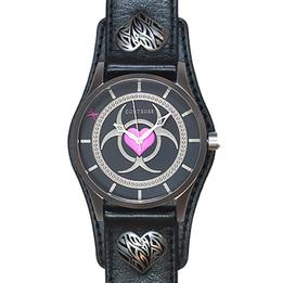 Toxic Love Watch - Black Leather Wristband