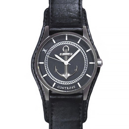 Anchor Strong Watch - Black Leather Wristband