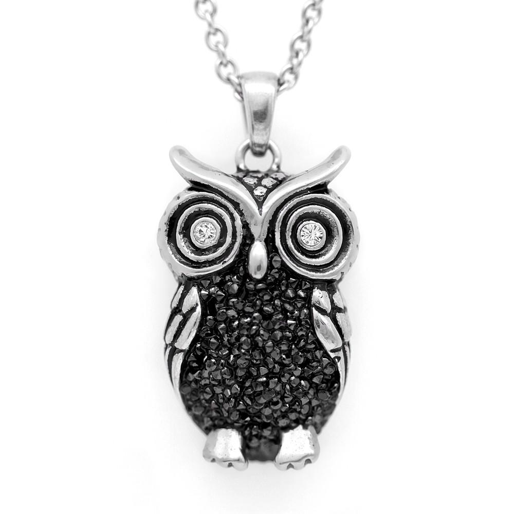 Owl pendant necklace night bright owl with swarovski crystals controse image 1 aloadofball Gallery