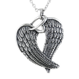 Steel Wings & Halo Necklace