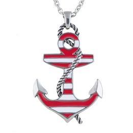 Red Color Striped Anchor Necklace
