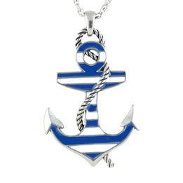 Blue Color Striped Anchor Necklace