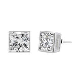 Sterling Silver Square CZ Stud Earring - 8MM