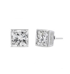 Sterling Silver Square CZ Stud Earring - 7MM