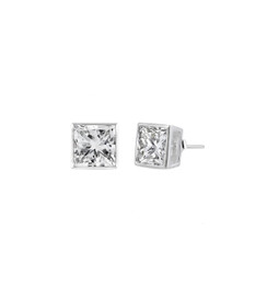 Sterling Silver Square CZ Stud Earring - 4MM