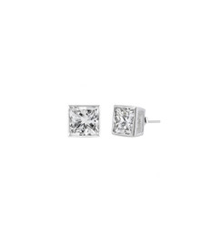 Sterling Silver Square CZ Stud Earring - 3MM