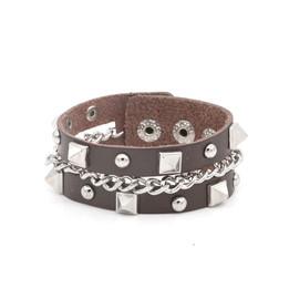 punk unisex studs link chian leather bracelet