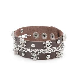 skeleton link chain leather bracelet