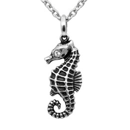 Serene Seahorse Petite Necklace - adorned with Swarovski Crystal