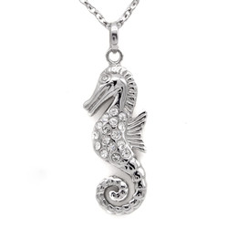 Seahorse With  White CZ Necklace