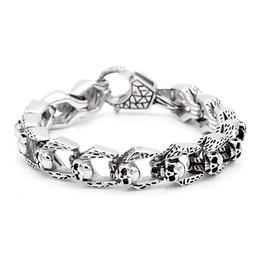 stainless steel cable skulls bracelet