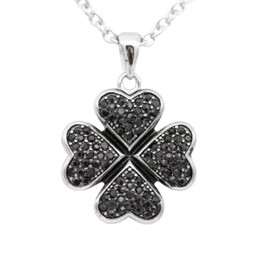 Sweet Four Leaf Necklace with Black Cubic zirconia