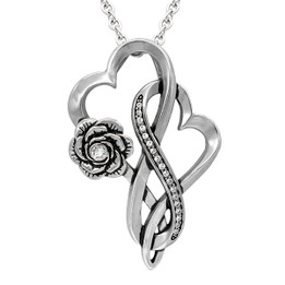 Infinity Hearts With Rose Love Necklace