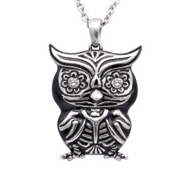 "Owl Necklace ""Crystal Eyes"", Bird Pendant Adorned with Swarovski Crystals"