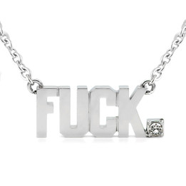 FUCK Pendant Block Letter Necklace with Swarovski crystal