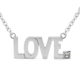 LOVE Pendant Block Letter Necklace with Swarovski crystal