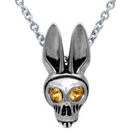 Bunny Skull Birthstone Necklace With Swarovski Crystal