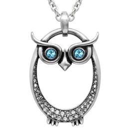 Owl Birthstone Necklace With Swarovski Crystal