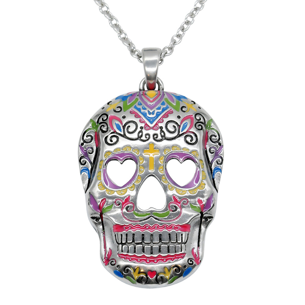 extension products elosee skull sugar long chunky necklace pendant
