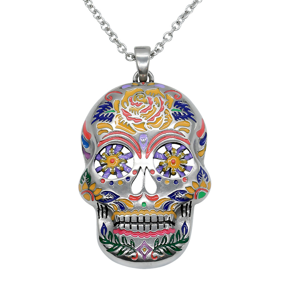 antiqued woman sugar products in voodoo day skull holding the mistress a locket dead silver jewelry of pendant cameo