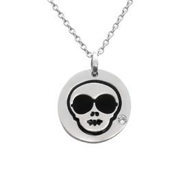 Cool Skull Emoji Necklace With Swarovski Crystal