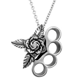 Beautifully Brutal Brass Knuckles & Rose Necklace