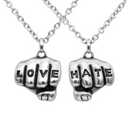 Love N Hate Tattooed Hands Necklaces