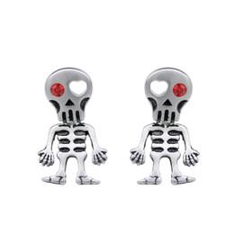 Love-Struck Red Eye Skeleton Earrings