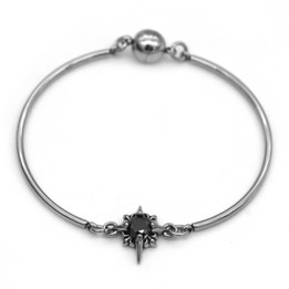 Black  CZ Stone Bangle with Magnetic Clasp