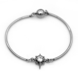 White CZ Stone Bangle with Magnetic Clasp