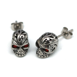 Red Eyes Skull Earrings