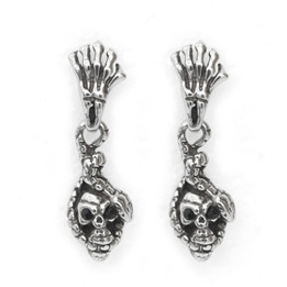Black CZ Eyes Skull with Snake Earrings