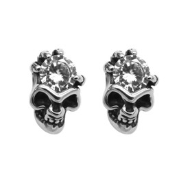 White CZ Skull Earrings