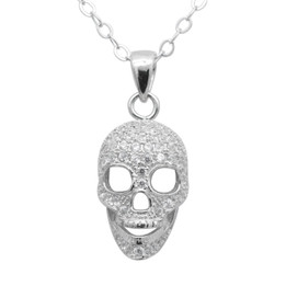 Silver Skull Necklace with 72pcs White CZs