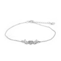 Silver Wing Heart Bracelet with 14pcs White CZs