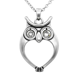 "Owl Necklace ""Watchful Owl"", Bird Pendant Adorned with Swarovski Crystals"