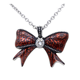 Pretty Red Bow Necklace