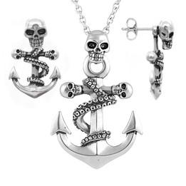 Octopus Skulls Anchor Pendant Necklace & Earrings