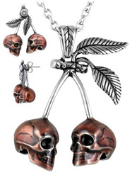 Cherry Skulls Necklace & Earrings Set