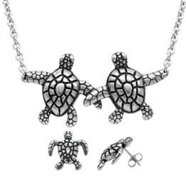 Turtle Companionship Necklace & Earrings Set