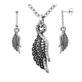 Shimmering Wing Necklace & Earrings Set