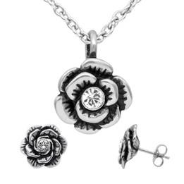 Crystal Bloom Flower Necklace & Earrings Set with Swarovski Crystal