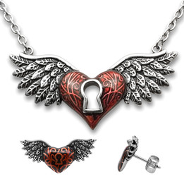 Heart Necklace & Earrings Set Red Winged Heart with Keyhole