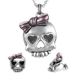 Bejeweled Badass in Pink Skull Necklace & Earrings Set